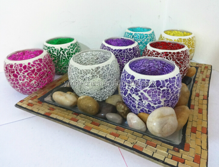 Wedding Festival Promotion Mosaic Decoration Items Glass Crafts Candlestick Romantic Candlelight Dinner Furnishing Articles