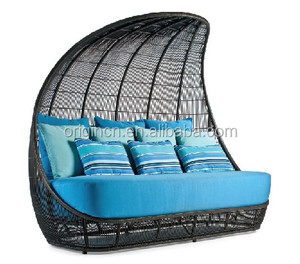 Ancient Reed Boat design wicker cocoon shaped day bed with high back canopy synthetic rattan furniture