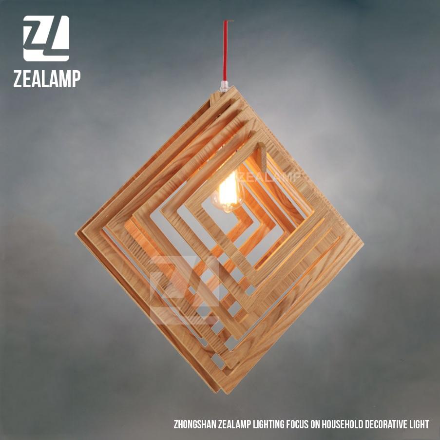 Nordic brief creativo di legno lampade a sospensione quadrata ...