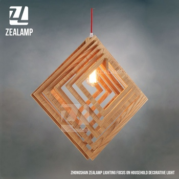 Nordic Creative Brief Wooden Pendant Lamps Square Shape Living Room Bedroom Lighting Fixtures Holiday Christmas