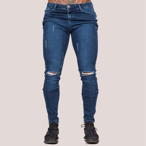 mens skinny jeans blue knee ripped jeans distress denim jeans