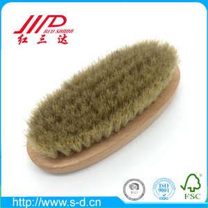 RTRB02 oval beech wood shoe shine brush with pig bristles best shoe care gift