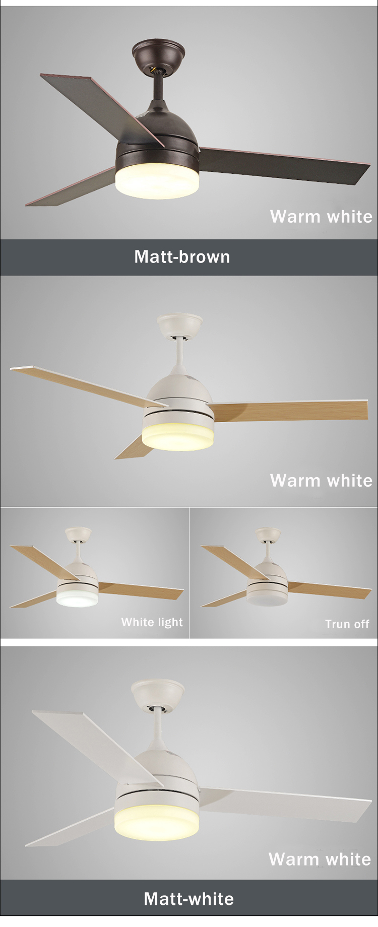 Good Quality Wood Blade Home Appliances Electric LED Fancy Fan Ceiling Light