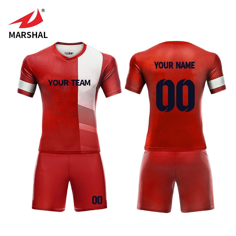 2e6ca6b012e Get Quotations · Marshal Jersey Custom Team Soccer Jerseys Set Patchwork Design  Custom Men s Training Uniform Suit Custom Your