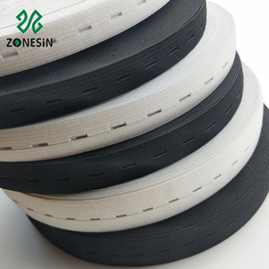 15 mm 20 mm Wide Black And White Buttonhole Knitted Elastic Tape Sewing Flat Polyester Waist Band