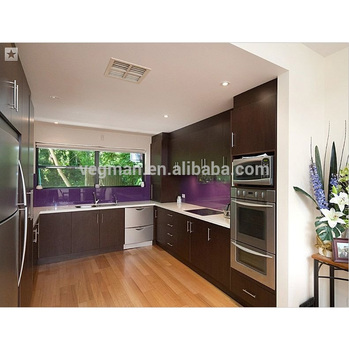 U Shaped Modular Mdf Kitchen Cabinet Aluminium Profile Handle Design