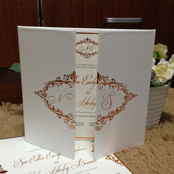 2016 hot sale luxurious white hardcover folded wedding invitations with golden hot stamping fond