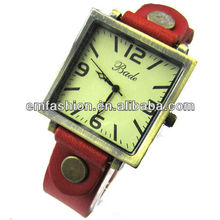 Vintage cow leather watch punk square face watch