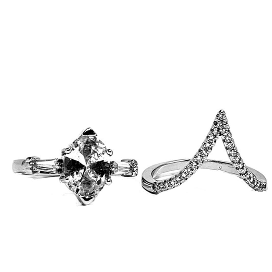 0d0b3ccbbe08 Get Quotations · YouCY Fashion Elegant Gemstone Wedding Bridal Ring Set  Promise Ring Set Wedding Engagement Ring For Women