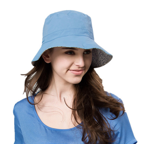 New Brand Kenmont Spring Summer Women Outdoor Bucket Boonie Print Sun Hats Anti-UV UPF 50+ Foldable Caps for Ponytail Blue 0526