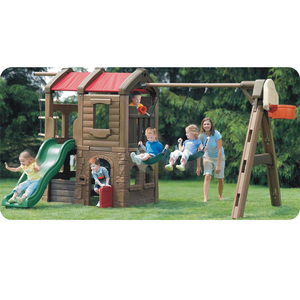 Rotomolding house style outdoor play slide and swing set