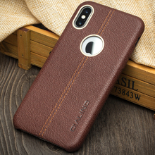 QIALINO Wholesale Phone Accessories Ultra Slim Genuine Leather Back Cover Case For Apple iPhone X