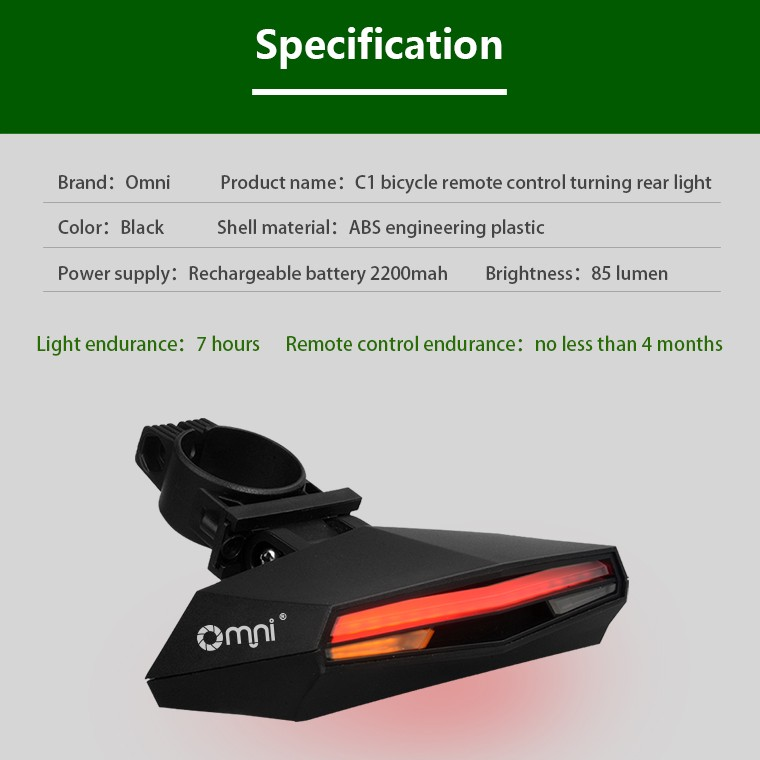 Omni Turn Signal Bike Back Light Remote