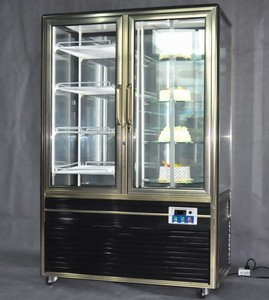 Aluminium Two Glass Door Four Side Glass Showcase With Rotary Table