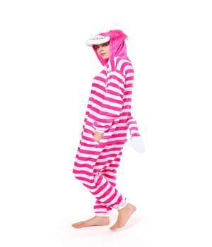 725a7dbefa27 Kigurumi Pajamas Cheshire Cat Onesie For Adult 2018 Alice In Wonderland Cat  Fleece Flannel Costume Halloween