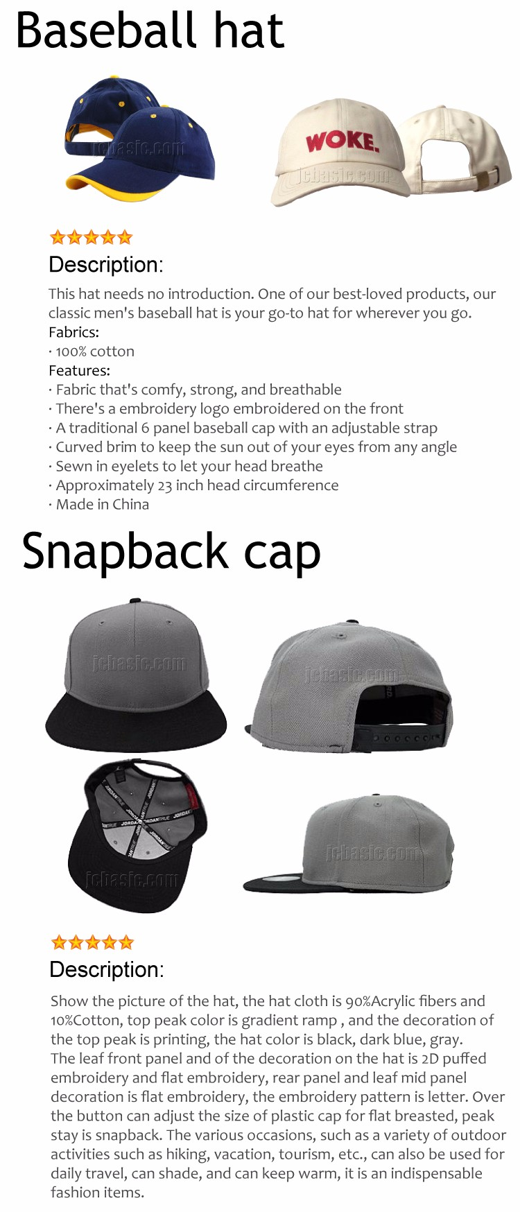 Snapback Hats Hip-hop Adjustable Bboy Baseball Cap Basketball