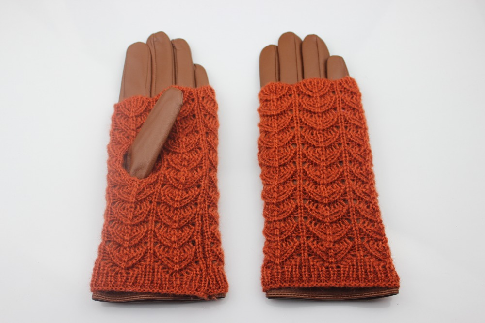 Women's warm leather gloves orange with knitted outside make you warm