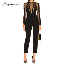 Black sheer lace mesh knitted sex ladies jumpsuit