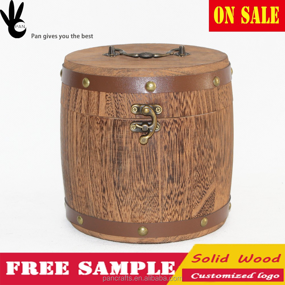 Pan custom design round coffee bean barrel old cheap Wooden coffee keg