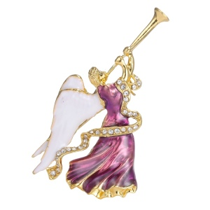 YH-11 Fashion Lady Jewelry Alloy Crystal Horn Christmas Angel Brooch