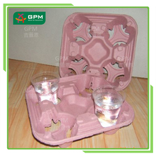 Pink Food Grade Recycled Paper Pulp Molded 4 Cup Paper Cup Tray