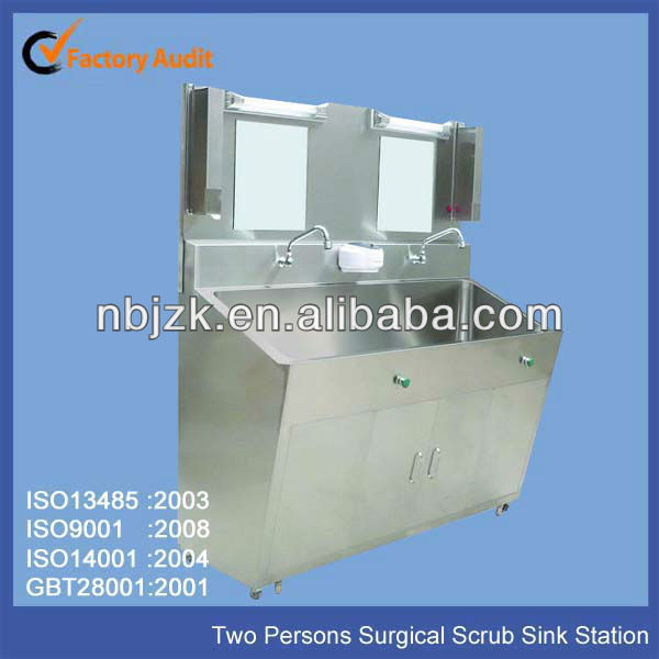 Medical Stainless Steel Scrub Sink Station For Two Persons