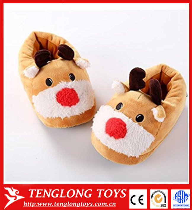 2017 new christmas deer slippers Cute Indoor Home Anti Slip Soft Plush Stuffed Animal Warm Foot Slippers
