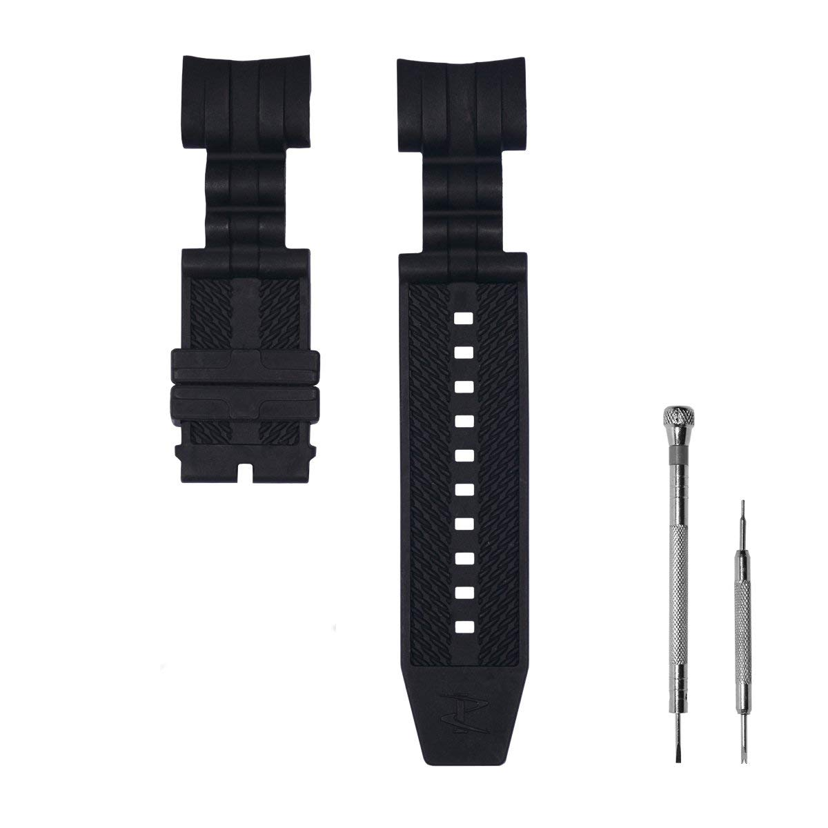 CACA for Invicta Watch Replacement Rubber Silicone Band/Strap for Invicta Reserve Jason Taylor Bolt Zeus - Black Invicta Watch Strap