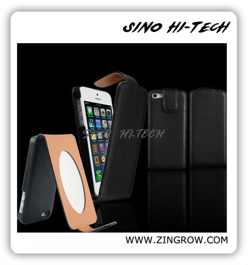Cheap Mobile Phone Leather Case for Iphone5, Holder Leather Case with Mirror Super Fit for Ladies Accept PayPal
