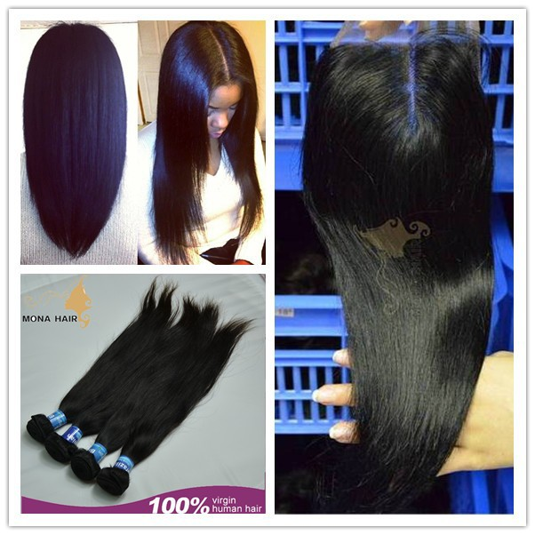 Closure match with bundles brazilian unprocessed hair light brown straight weave