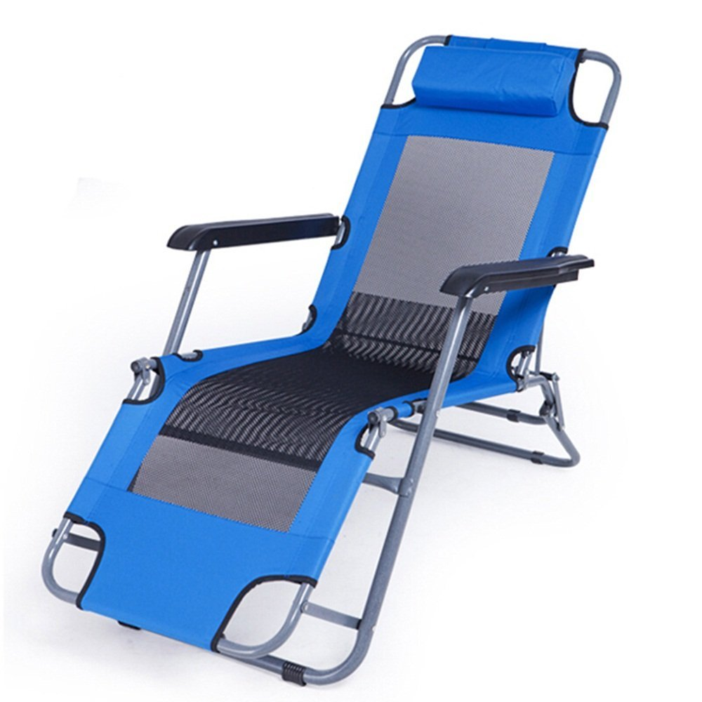 LXJYMXCreative Lounge Chair Multifunctional Folding Chair, Recliner Bed, Office Simple Bed, Portable Camping Folding Chair, Beach Bed @ (Color : Navy Blue, Size : 53.532/94cm)