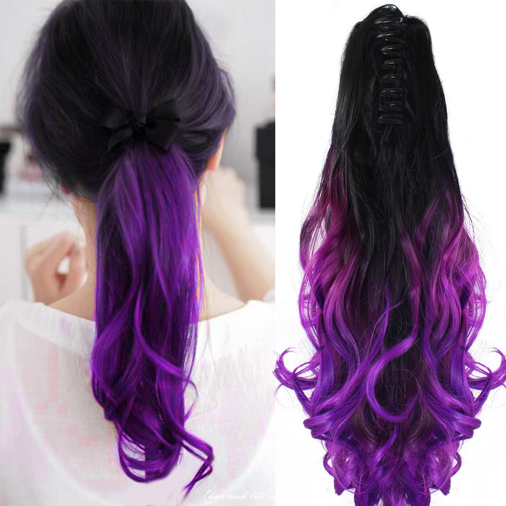 Wholesale Purple Color 20 50cm Claw Pony Tail Ponytail Clip In On Hair  Extension Wavy Curly Style Synthetic Hair Hairpieces Extensions Black Hair