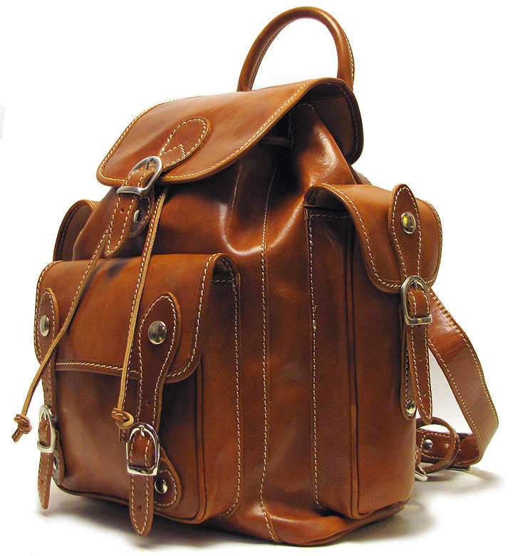 Natural Leather Backpack Bag Messenger Brown Handmade Laptop - Buy ...