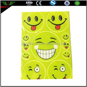 Customized die cut 3m reflective emoji heat transfer vinyl numbers sticker material