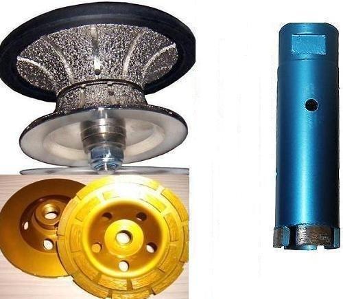 Full Bullnose V25 (25mm) 1 Inch Diamond Full Bullnose Router Bit Profiler 1-3/8 Inch Diamond Core Drill Bit 4 Inch Dimond Griinding cup wheel Granite Marble Concrete Terrazzo Stone Travertine