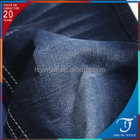 Shrink-resistant basic color super fashion twill trendy style organic cotton poly spandex denim fabric