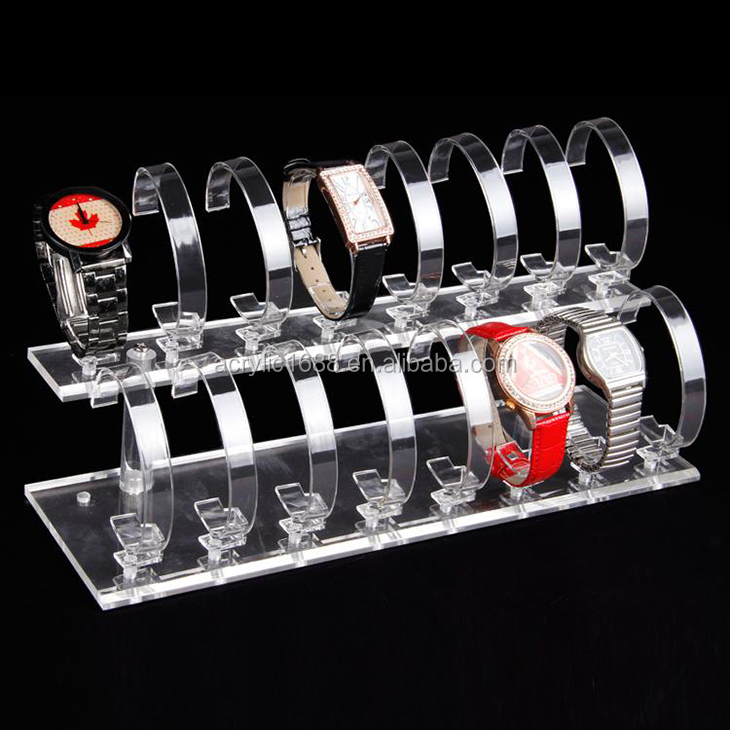 High Quality Acrylic  Two Layer Of 16 Watch Stand Display/Watch  Holder
