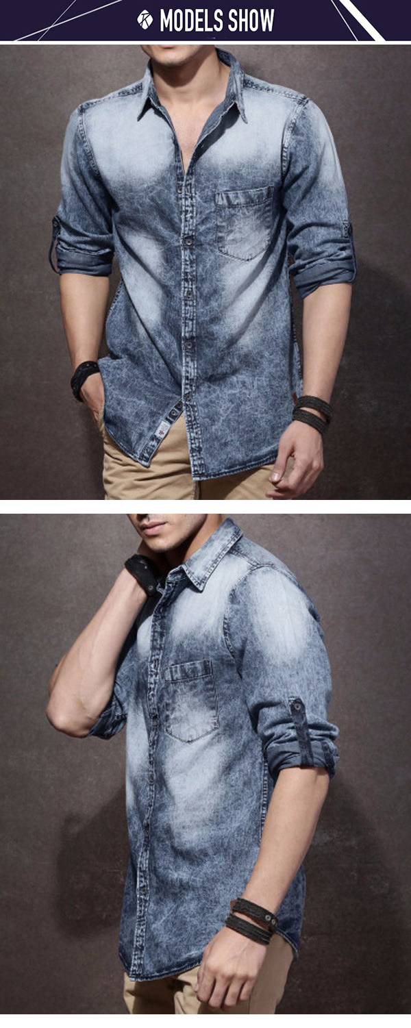 0cd22a298de 2017 men blue washed denim shirt casual long sleeve fade fitted t shirt  cheap price wholesale