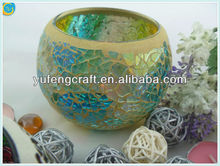 Mosaic glass containers for candles