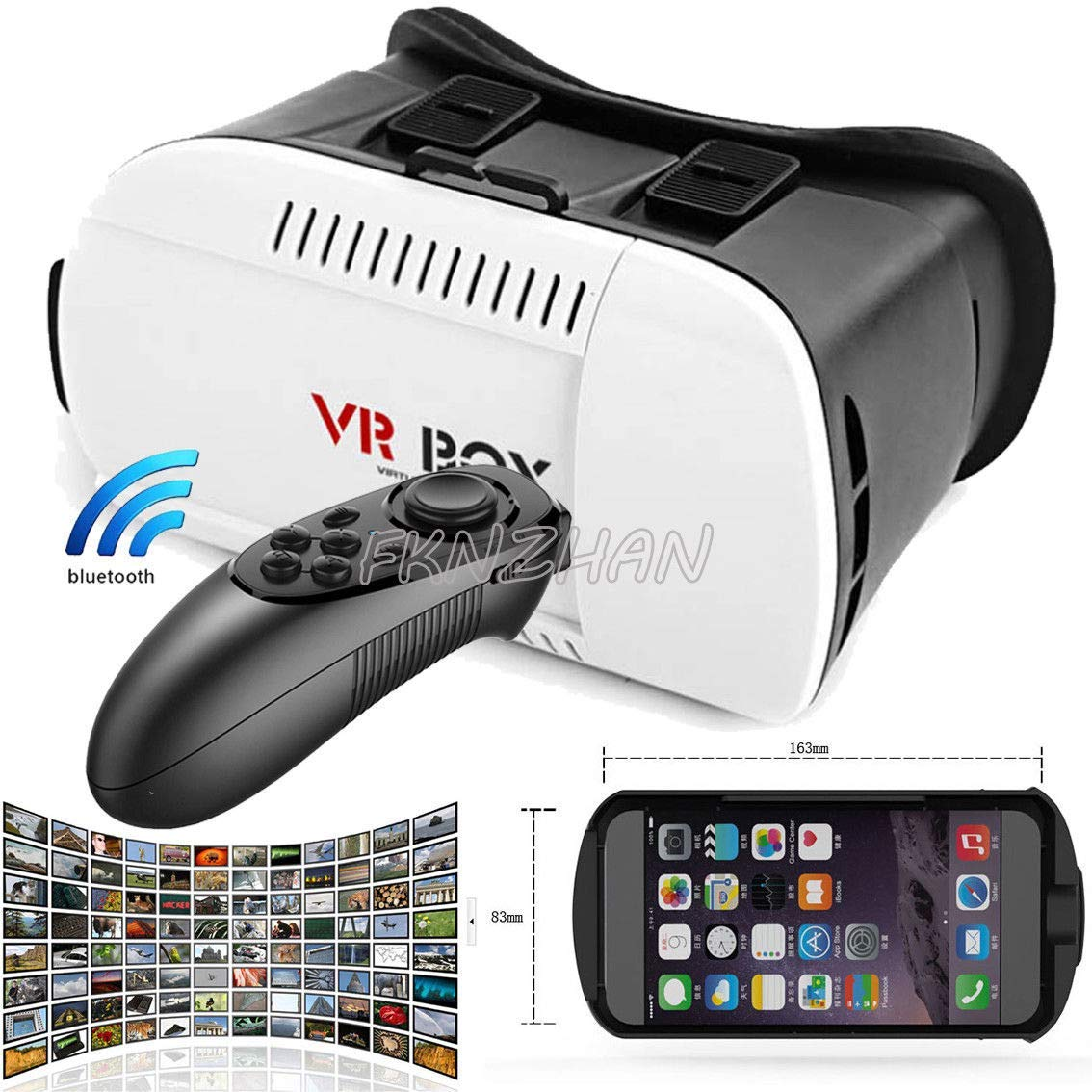 71b72d5f66c Get Quotations · Mocei VR Virtual Reality Headset 3D Glasses + Controller  for Cell Phone iPhone Samsung for LG