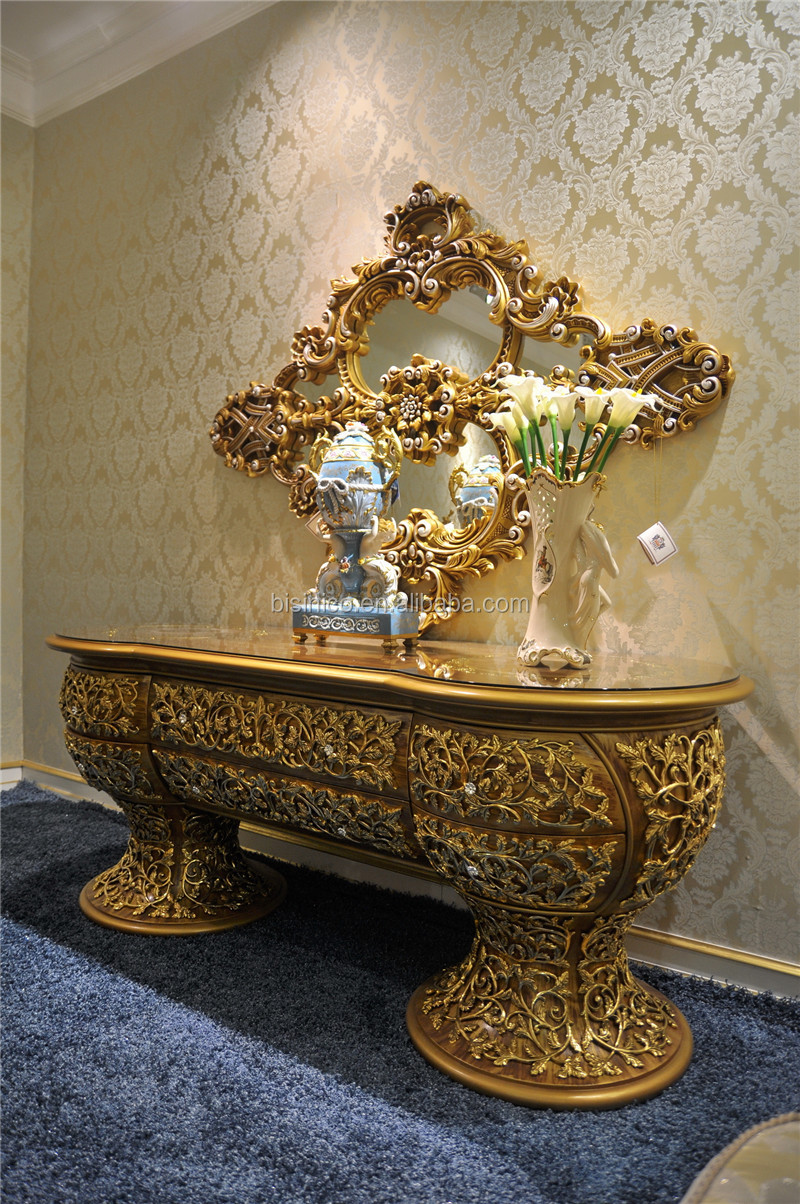 Italian Antique Marquetry Inlay Gold Buffet Furniture Sideboard, Elegant  Carving Sideboards, Luxury Design Sideboard