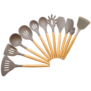 Perfect Nonstick Silicone Wholesale high quality 10pc chef ladle/spoon/turner/spatulakitchen utensil set with bamboo handle