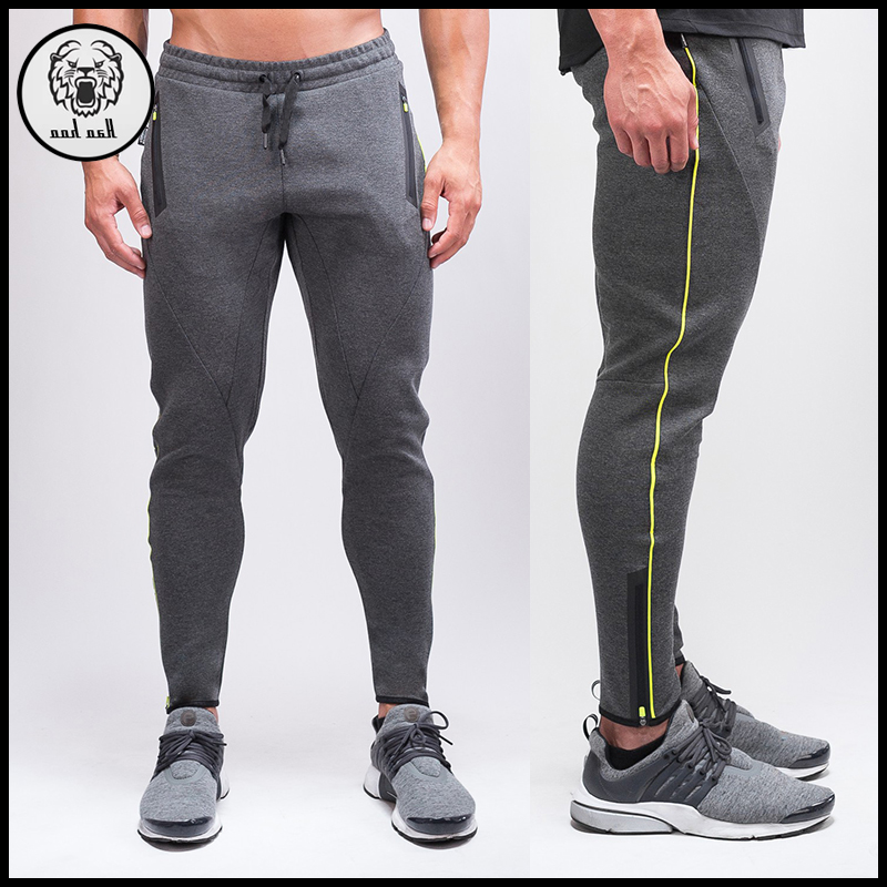 Custom Men Slim Fit Jogger Pants Cotton Sweat Pants With Bottom Zipper