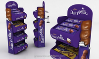 new cheapest paper promotion supermarket customized display stand/rack/shelf for chocolate
