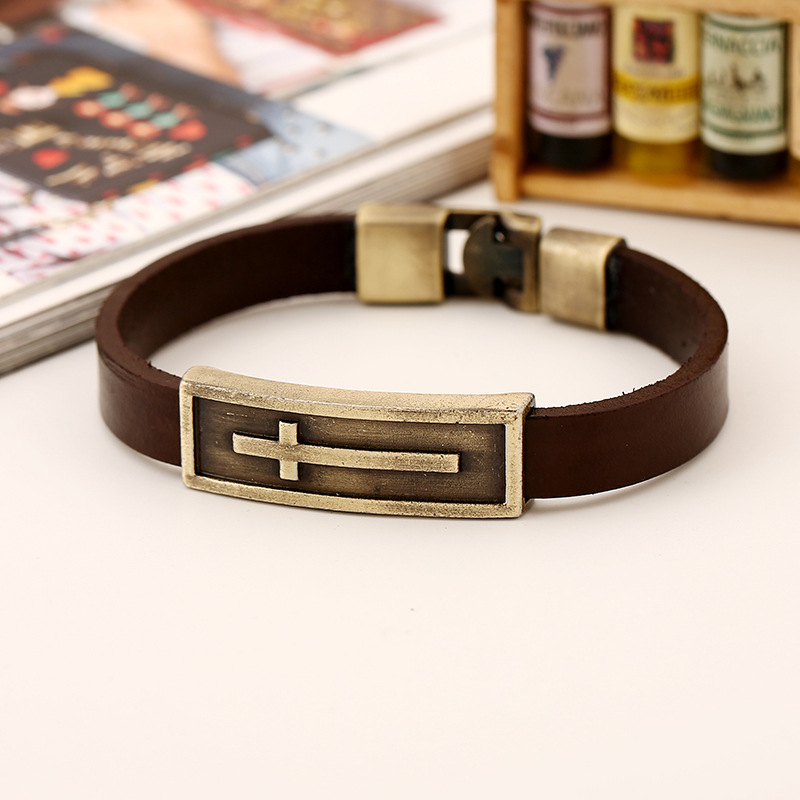 New Punk Vintage Cross Charm Cuff Simple Genuine Leather Bracelets & Bangles for Men Jewelry Accessories