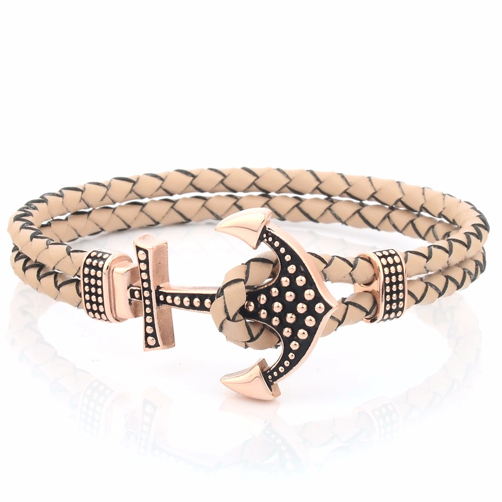 Custom Mens Genuine Braided Leather Hook Anchor Bracelet Buy Cocoa Jewelry Rules Of Love Emas