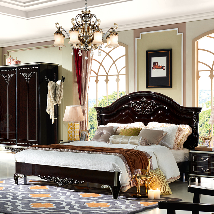 Classic Royal Luxury Black European Bedroom Furniture Set - Buy European  Bedroom Furniture Set,Fancy Bedroom Set,Exclusive Bedroom Furniture Product  ...