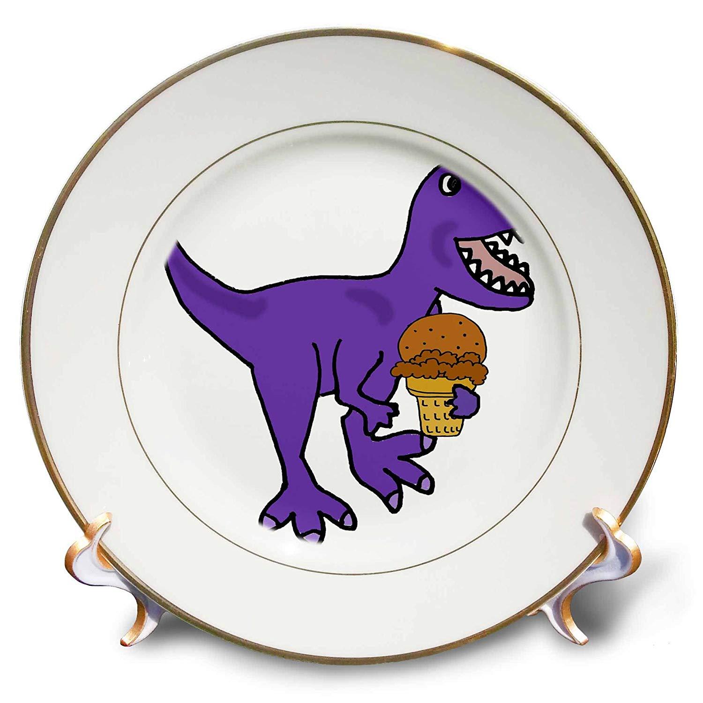 3dRose All Smiles Art Dinosaur - Funny Cute T-rex Dinosaur eating Chocolate Ice Cream Cone - 8 inch Porcelain Plate (cp_263740_1)