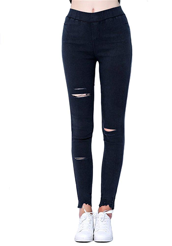18790a4cbe6 Get Quotations · MOSZA Womens Plus Size Breathable Ripped Skinny Jeggings  High Waist Denim Leggings