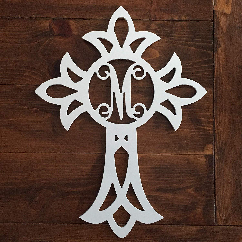 Monogram Cross Door Hanger - Easter Door Hanger - Wood Cross Monogram - Religious Monogram Hanger - Religious Door Decor - Cross Door Decor